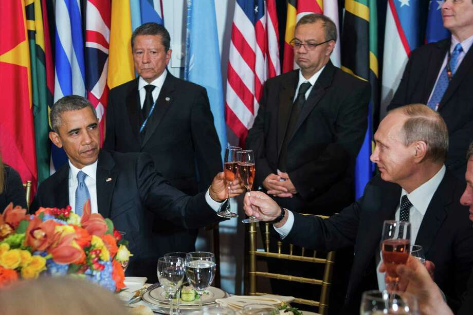 On Monday, President Barack Obama and Russian President Vladimir Putin toast during a luncheon at the United Nations.. Within days, Russia was bombing U.S. allies in Syria. Photo: United Nations / United Nations