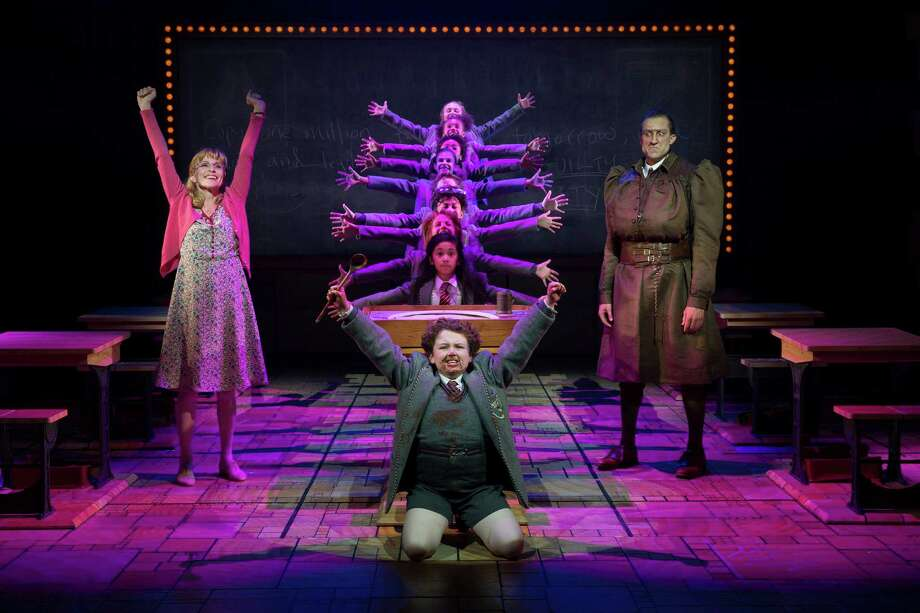 """A key moment of confrontation in """"Matilda"""" involves Evan Gray (as Bruce, front), Jennifer Blood (Miss Honey, left) and Bryce Ryness (Miss Trunchbull). Photo by Joan Marcus. Photo: Joan Marcus / ©2015, Joan Marcus"""