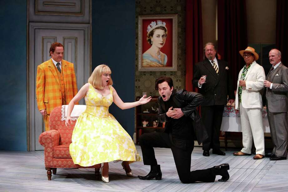 """""""One Man, Two Guvnors,"""" is the Alley Theatre's reopening production on the Hubbard Stage. Photo: Mark Mulligan, Staff / © 2015 Houston Chronicle"""
