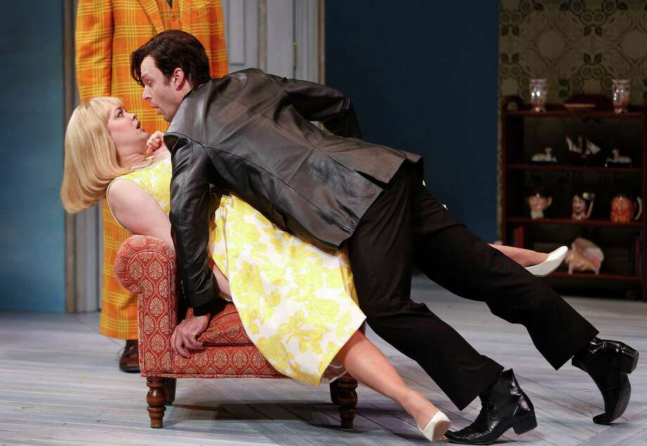 """Melissa Pritchett and Jay Sullivan star in the Alley Theatre's production of """"One Man, Two Guvnors."""" Photo: Mark Mulligan, Staff / © 2015 Houston Chronicle"""