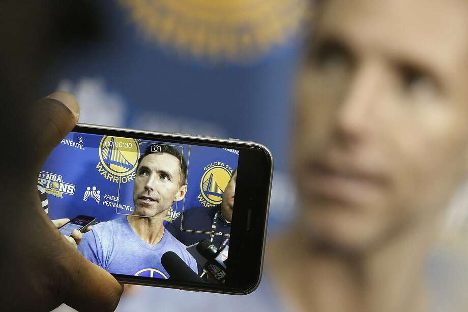 Player development consultant Steve Nash talks with press at the Warriors gym in Oakland, Calif., on Friday, October 2, 2015. Photo: Liz Hafalia, The Chronicle