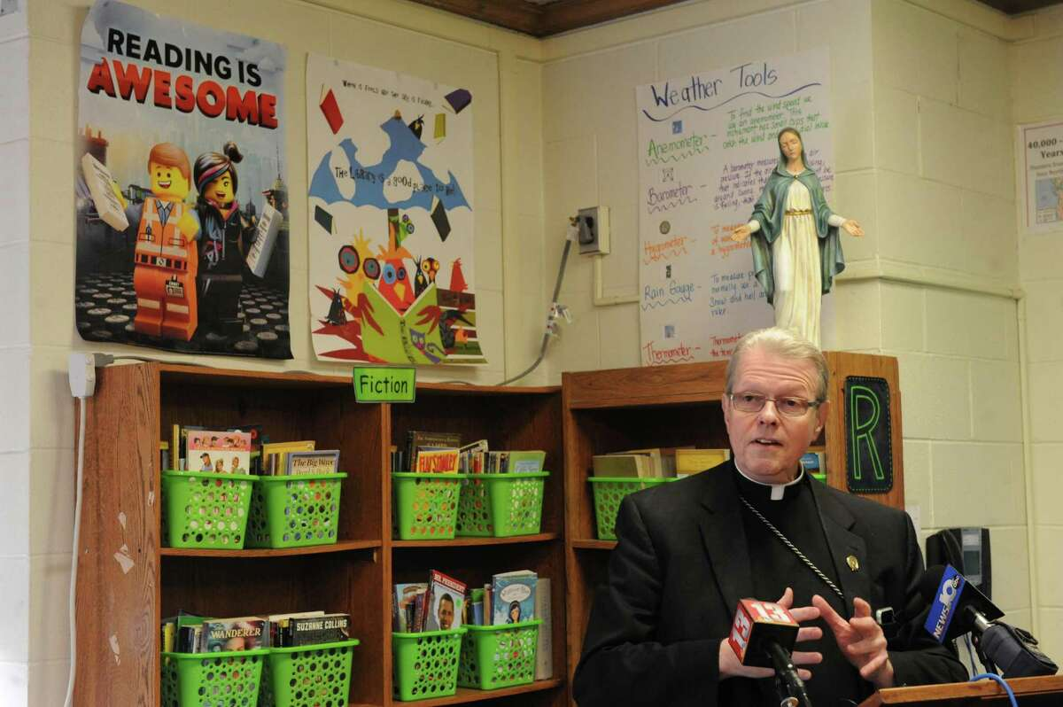 Bishop Edward B. Scharfenberger announces a major shift in the way Common Core-New York State Assessments are implemented at Catholic elementary and middle schools at St. Madeleine Sophie School on Friday Oct. 2, 2015 in Schenectady , N.Y. (Michael P. Farrell/Times Union)