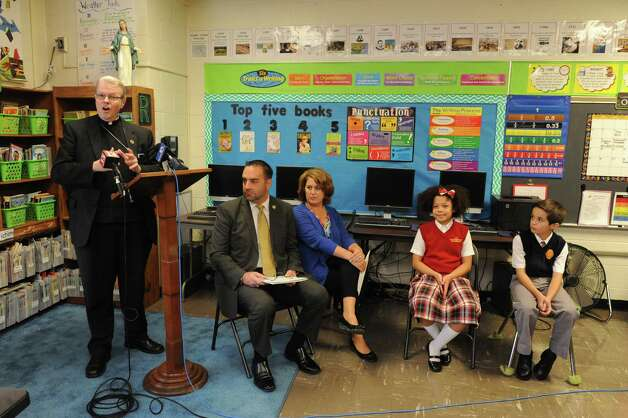 Bishop Edward B. Scharfenberger announces a major shift in the way Common Core-New York State Assessments are implemented at Catholic elementary and middle schools at St. Madeleine Sophie School on Friday Oct. 2, 2015 in Schenectady , N.Y.  (Michael P. Farrell/Times Union) Photo: Michael P. Farrell / 10033609A