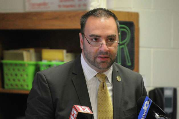 Michael Pizzingrillo, Superintendent of Schools for the Roman Catholic Diocese of Albany, announces a major shift in the way Common Core-New York State Assessments are implemented at Catholic elementary and middle schools at St. Madeleine Sophie School on Friday Oct. 2, 2015 in Schenectady , N.Y.  (Michael P. Farrell/Times Union) Photo: Michael P. Farrell / 10033609A