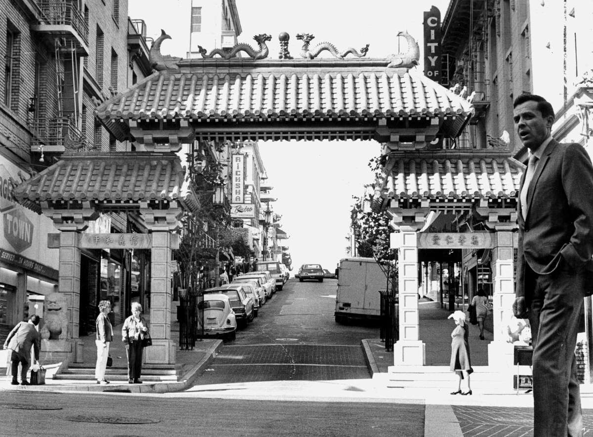 The new gate to San Francisco's Chinatown at Grant and Bush streets in September 1969.
