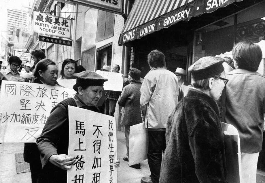 Protesters picket high rents in San Francisco's Chinatown on May 24, 1977. Photo: Joe Rosenthal / Joe Rosenthal / The Chronicle 1977 / ONLINE_YES