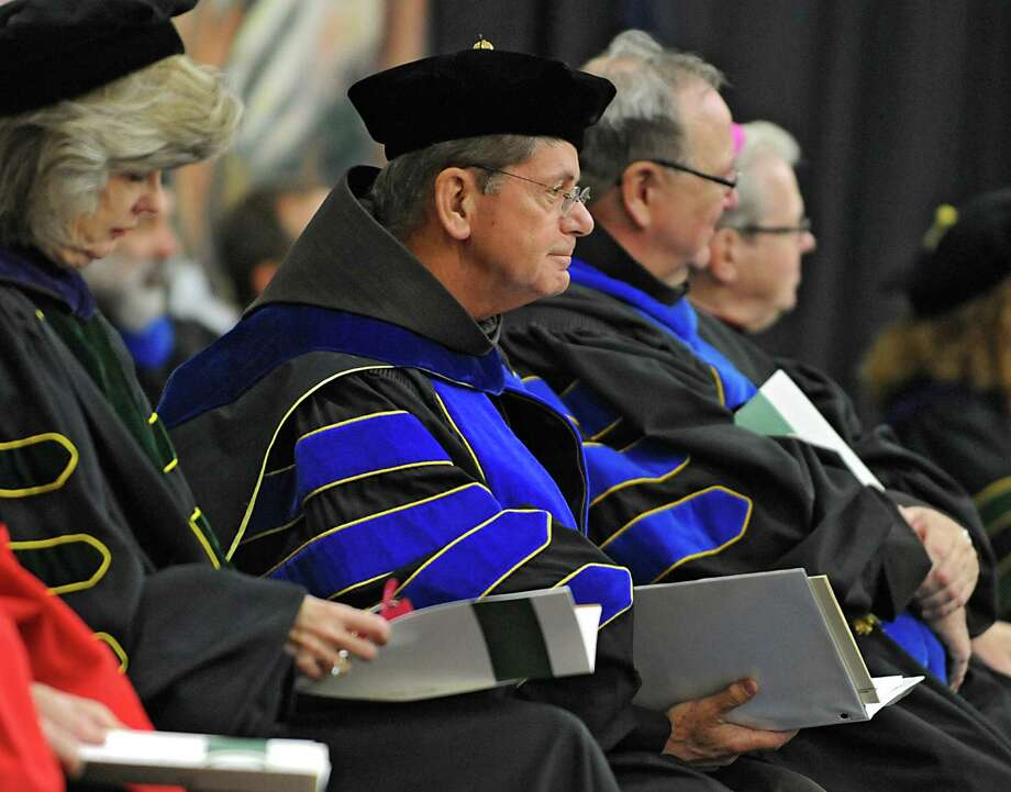 Siena College inaugurates Brother F. Edward Coughlin, center, O.F.M. Ph.D., as its 11th president  at Siena College on Friday, Oct. 2, 2015 in Loudonville, N.Y. (Lori Van Buren / Times Union) Photo: Lori Van Buren / 00033546A