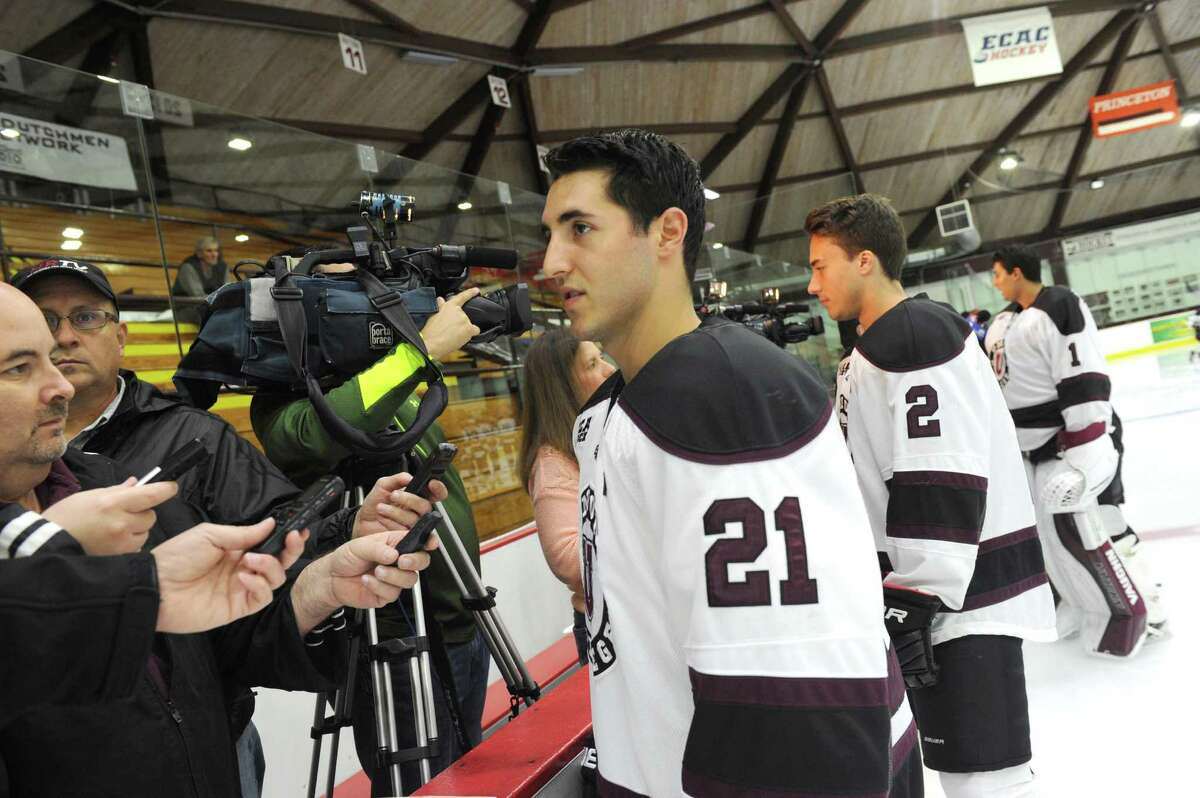 Union College men's hockey co-captain Mike Vecchione answers questions during media day at the Union College Messa Rink on Friday Oct. 2, 2015 in Schenectady , N.Y. (Michael P. Farrell/Times Union)
