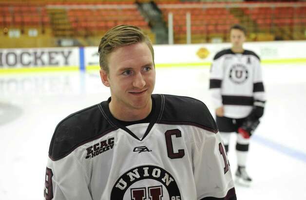 Union College men's hockey co-captain Matt Wikins answers questions during media day at the Union College Messa Rink on Friday Oct. 2, 2015 in Schenectady , N.Y.  (Michael P. Farrell/Times Union) Photo: Michael P. Farrell / 10033575A