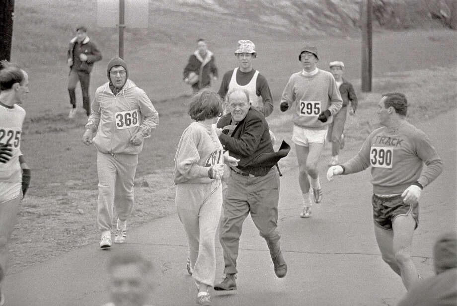 In 1967, irate race official Jock Semple tried forcibly to remove Kathrine Switzer from the then all-male Boston Marathon simply because she was a woman. Luckily for Switzer, the official was bounced out of the race instead by her boyfriend and she went on to finish. Switzer