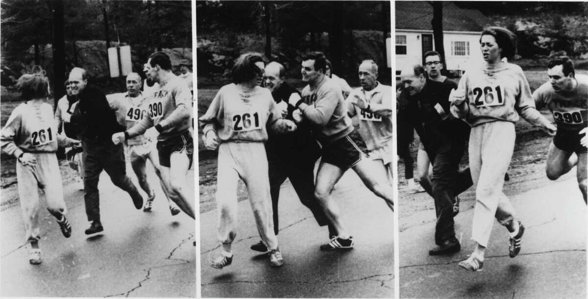 In this series of photos from the 1967 Boston Marathon, runner Kathrine Switzer, who was breaking the race's gender barrier, is accosted by Jock Semple (in black shirt), a race official who was furious about seeing a woman running the race. Switzer's then-boyfriend pushed Semple out of the way, but not before a photographer captured the sequence of events, which gained national attention.
