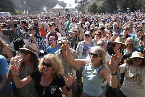Crowds dance to The Mavericks on the Banjo Stage, during the first day of Hardly Strictly Bluegrass in Golden Gate Park on Fri. October 2, 2015,  in San Francisco, Calif.,
