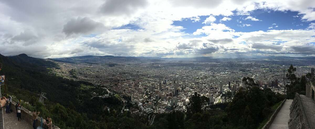 Bogota, Colombia, as seen from Monserrate, one of the mountains that surrounds the city.