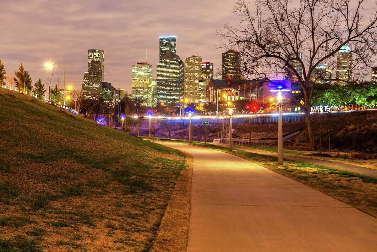 The lunar cycle lights in Buffalo Bayou Park, created by artist Stephen Korns with LéObservatoire International, Inc., change from blue to white with the cycles of the moon.