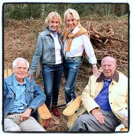 Nancy Hellman Bechtle (left), her husband, Joachim Bechtle (seated, left) with Charlotte and George Shultz at the Trails Forever Dinner. Sept 2015.
