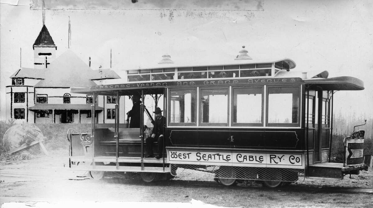 The West Seattle Cable Railway Co. terminus, pictured in 1895.