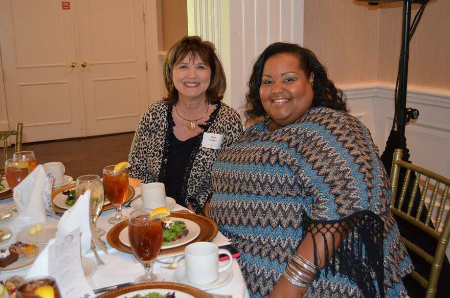 Debbie Rippstein, left, executive director of Gracewood and guest speaker Regina Hearne attend the annual HALO luncheon.