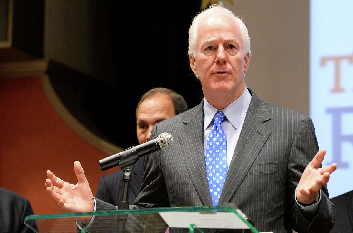 Senator John Cornyn (R-Texas) speaks during a press conference at the University of Texas-Rio Grande Valley Regional Academic Health Center on Monday, Sept. 14, 2015 in Harlingen, Texas. Cornyn was joined by Department of Veteran Affairs Secretary Robert McDonald, and Texas Governor Greg Abbott for a tour of the Harlingen VA facility and UT-RGV Smart Hospital. The panel also engaged in a discussion with local veterans regarding problems faced in seeking healthcare at the local clinic. (Jason Hoekema/Valley Morning Star via AP)