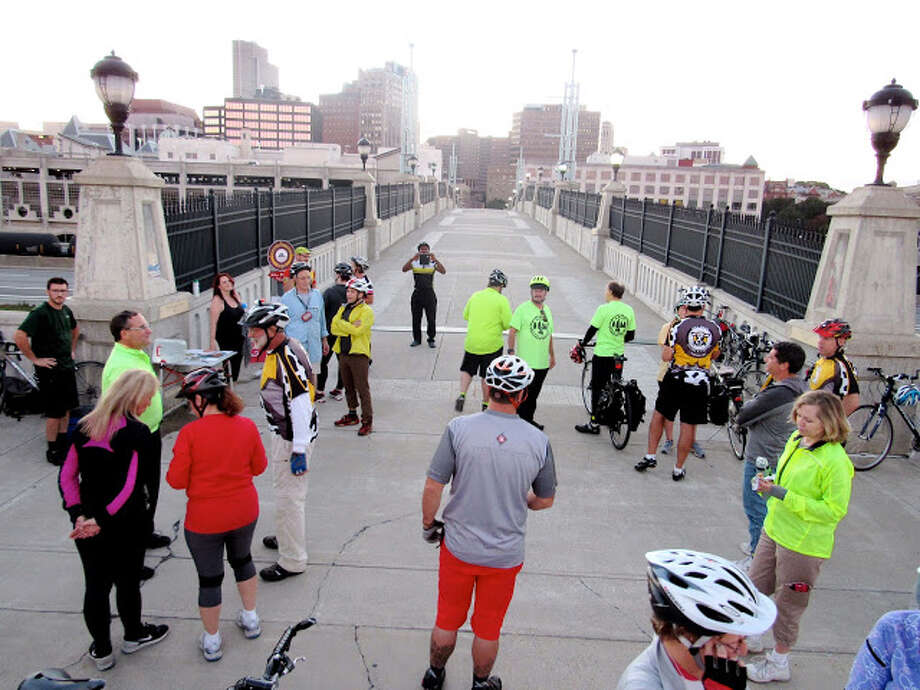 Close the Gap bicyclists enter Albany in September. (Photo courtesy James Meerdink)
