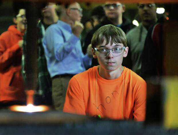 Mohonasen 9th grader Kyle Spaulding watches a computerized burn table make a cut during their tour of STS Steel Friday Oct. 2, 2015 in Schenectady, NY.  (John Carl D'Annibale / Times Union) Photo: John Carl D'Annibale / 10033592A