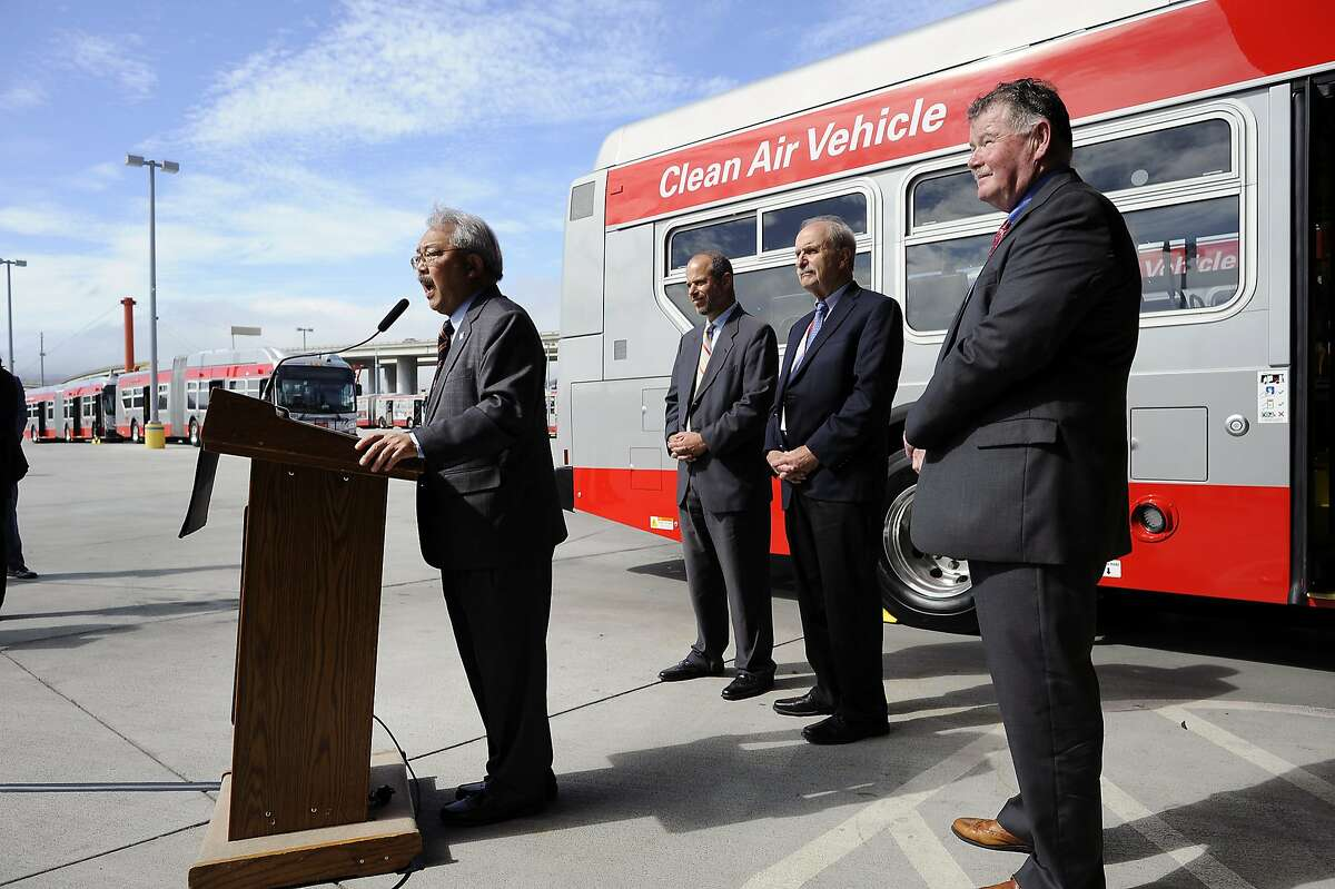 From left, Mayor Ed Lee speaks as SFMTA's Ed Reiskin, Tom Nolan, and John Haley stand by during a press conference announcing MUNI service improvements, in San Francisco, CA Monday, September 28, 2015.