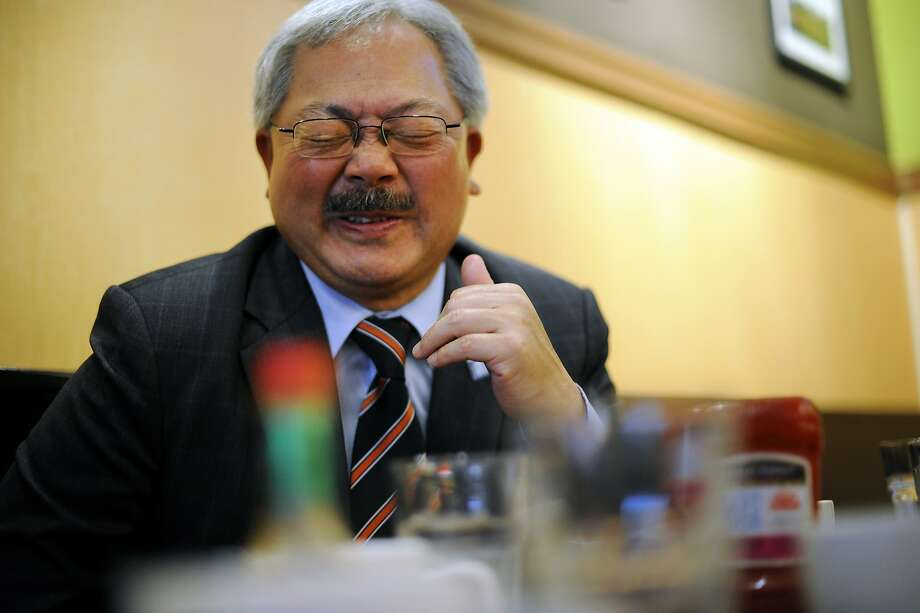 Mayor Ed Lee laughs during an interview following an affordable housing development meeting at Sam's Diner in San Francisco, CA Monday, September 28, 2015. Photo: Michael Short, Special To The Chronicle