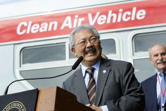 Mayor Ed Lee speaks during a press conference announcing MUNI service improvements, in San Francisco, CA Monday, September 28, 2015.