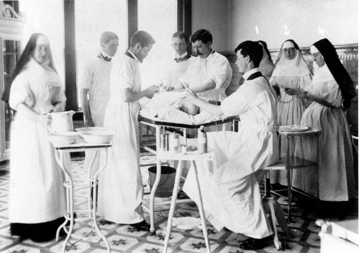 Sisters in the St. Joseph Hospital operating room in the 1920s were part of the first nursing education program established in Houston.
