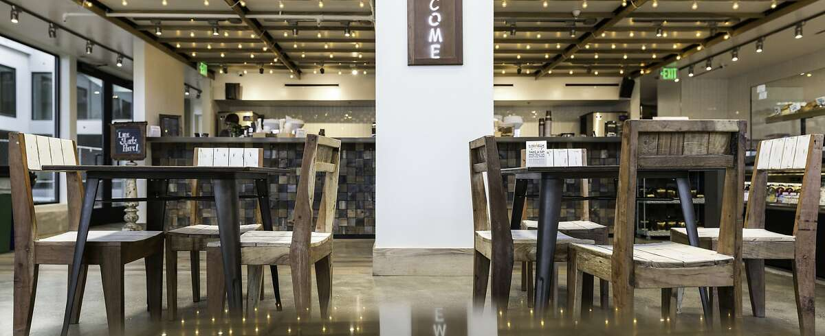 Philz Coffee in Potrero Hill, furnished by Dot & Bo. The San Francisco-based online company has released a collection inspired by the look of the popular coffeehouse. Credit: Dot & Bo