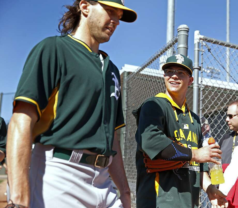 Oakland Athletics' Sonny Gray (right) and Barry Zito during Spring Training in Mesa, Arizona, on Wednesday, February 25, 2015. Photo: Scott Strazzante, The Chronicle
