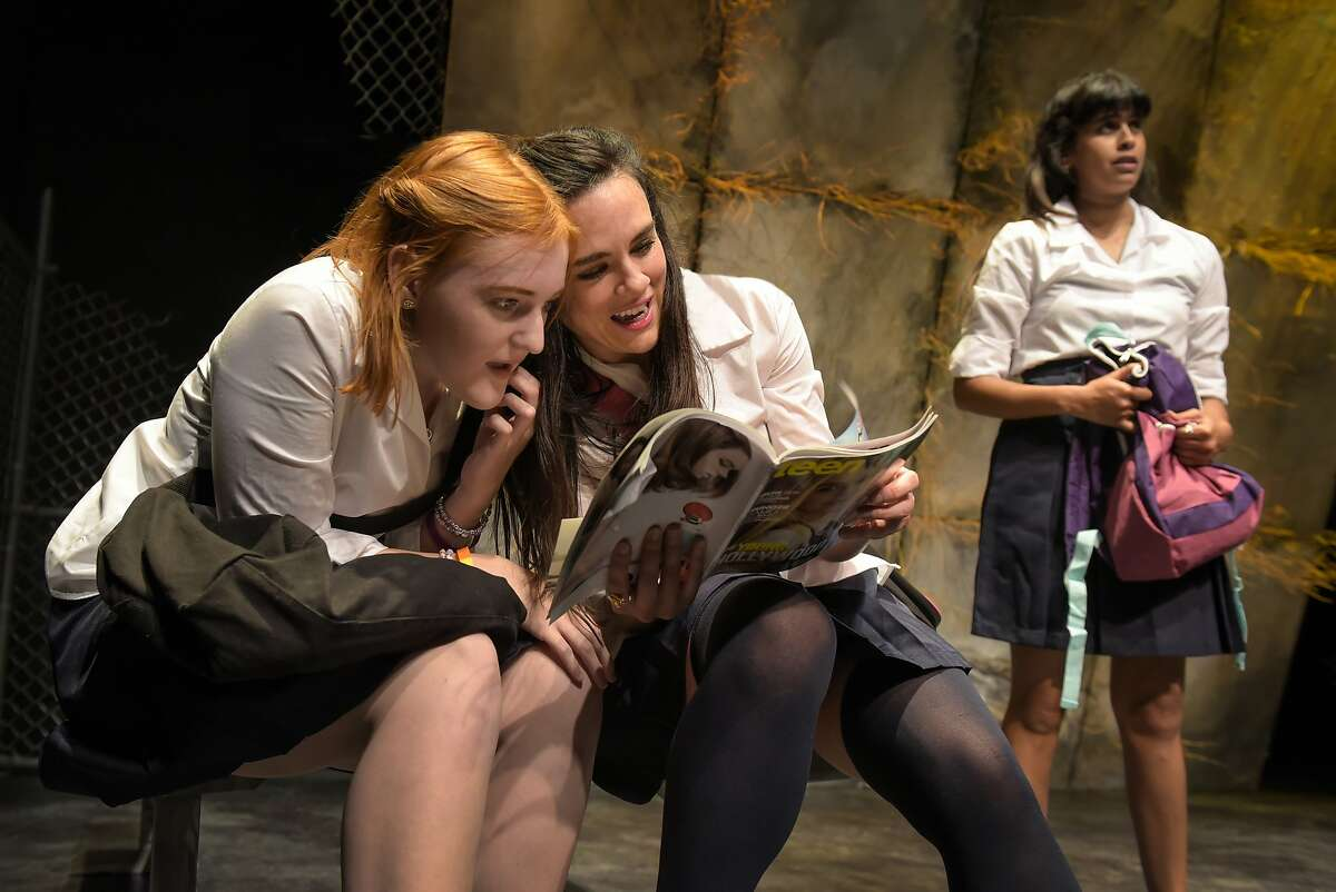New girl in school Aisha (Jamie Asdorian, right) encounters childhood best friends Kelly (Chelsea Looy, left) and Sam (Jessica Lynn Carroll) in Crowded Fire Theater's American premiere of