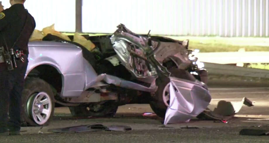 A woman died Saturday morning after smashing into an 18-wheeler in northeast Houston. Photo: Screen Shots Metro Video