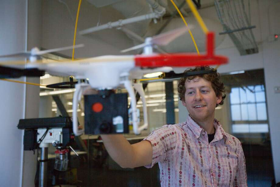 Ben Kreimer, a beta fellow at BuzzFeed's Open Lab, tests the drone, Friday, Oct. 2, 2015, in San Francisco, Calif. Photo: Santiago Mejia, Special To The Chronicle