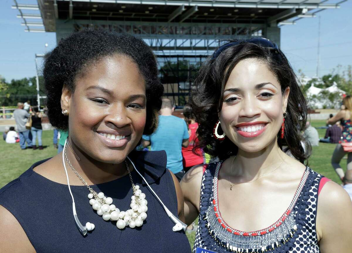 People pose at the Buffalo Bayou Park grand opening Saturday, Oct. 3, 2015, in Houston.