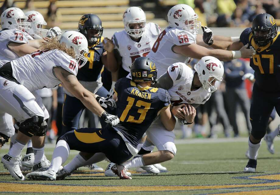 Cal's Kyle Kragen, 13 sacks Washington quarterback Luke FAlk, 4 in the first quarter, as the California Bears take on the Washington State Cougars at Memorial Stadium in Berkeley, Calif., on Sat. October 3, 2015. Photo: Michael Macor, The Chronicle