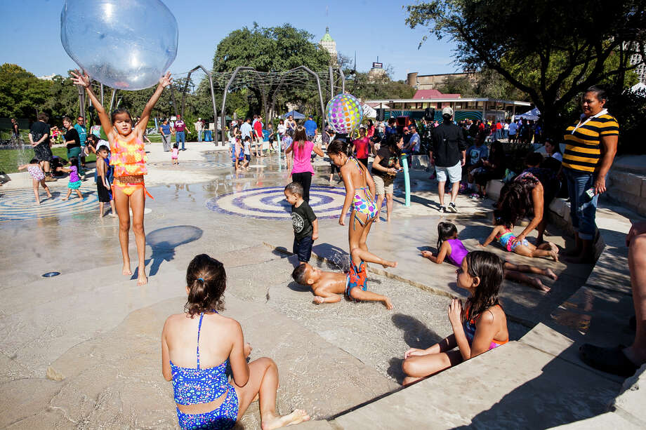 Click ahead to view splash pads around San Antonio to keep cool. Splash pad at Yanaguana Garden at Hemisfair Park. / Julysa Sosa For the San Antonio Express-News