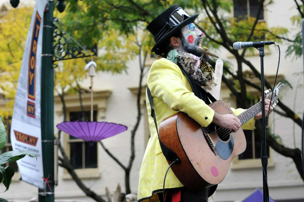 Ragliacci, also known as Kristoph DiMaria of Troy, performs during the Enchanted City steampunk street festival on Saturday, Oct. 3, 2015, in Troy, N.Y. The family-friendly event offered music, games, performance, food and fantasy. (Cindy Schultz / Times Union)