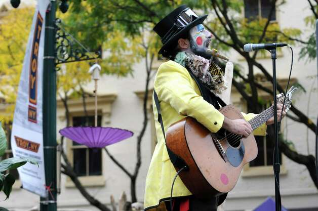 Ragliacci, also known as Kristoph DiMaria of Troy, performs during the Enchanted City steampunk street festival on Saturday, Oct. 3, 2015, in Troy, N.Y. The family-friendly event offered music, games, performance, food and fantasy. (Cindy Schultz / Times Union) Photo: Cindy Schultz / 10033593A