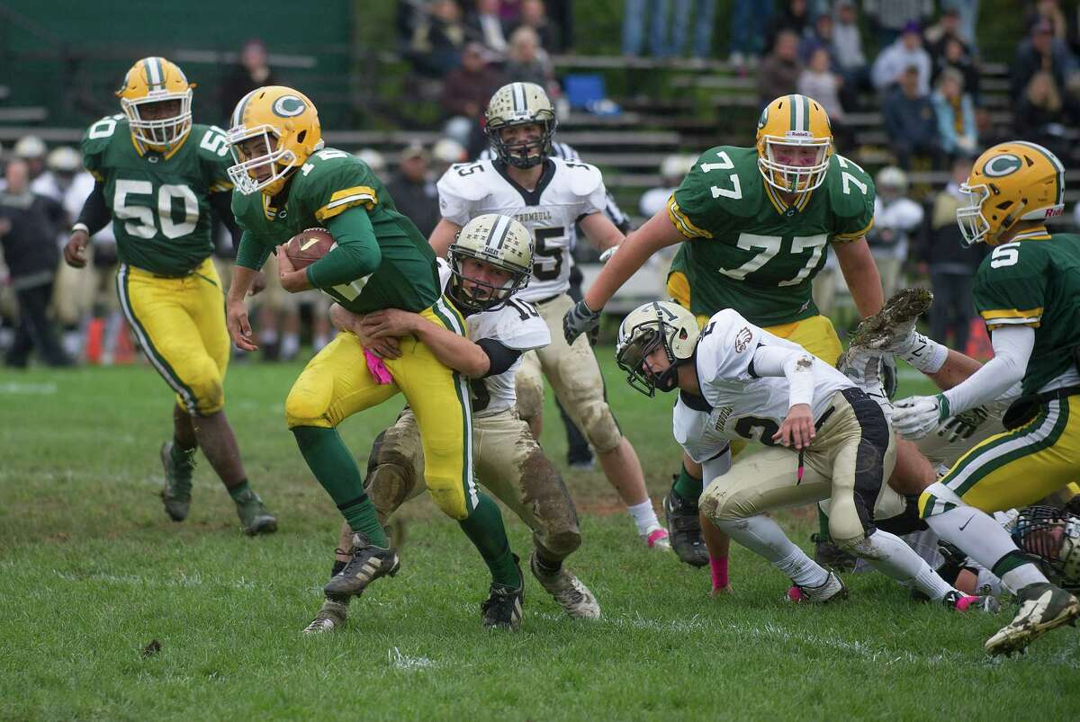 Anthony Lombardi of Trinity carries the ball during Saturday's football game at Trinity Catholic High School on October 3, 2015.