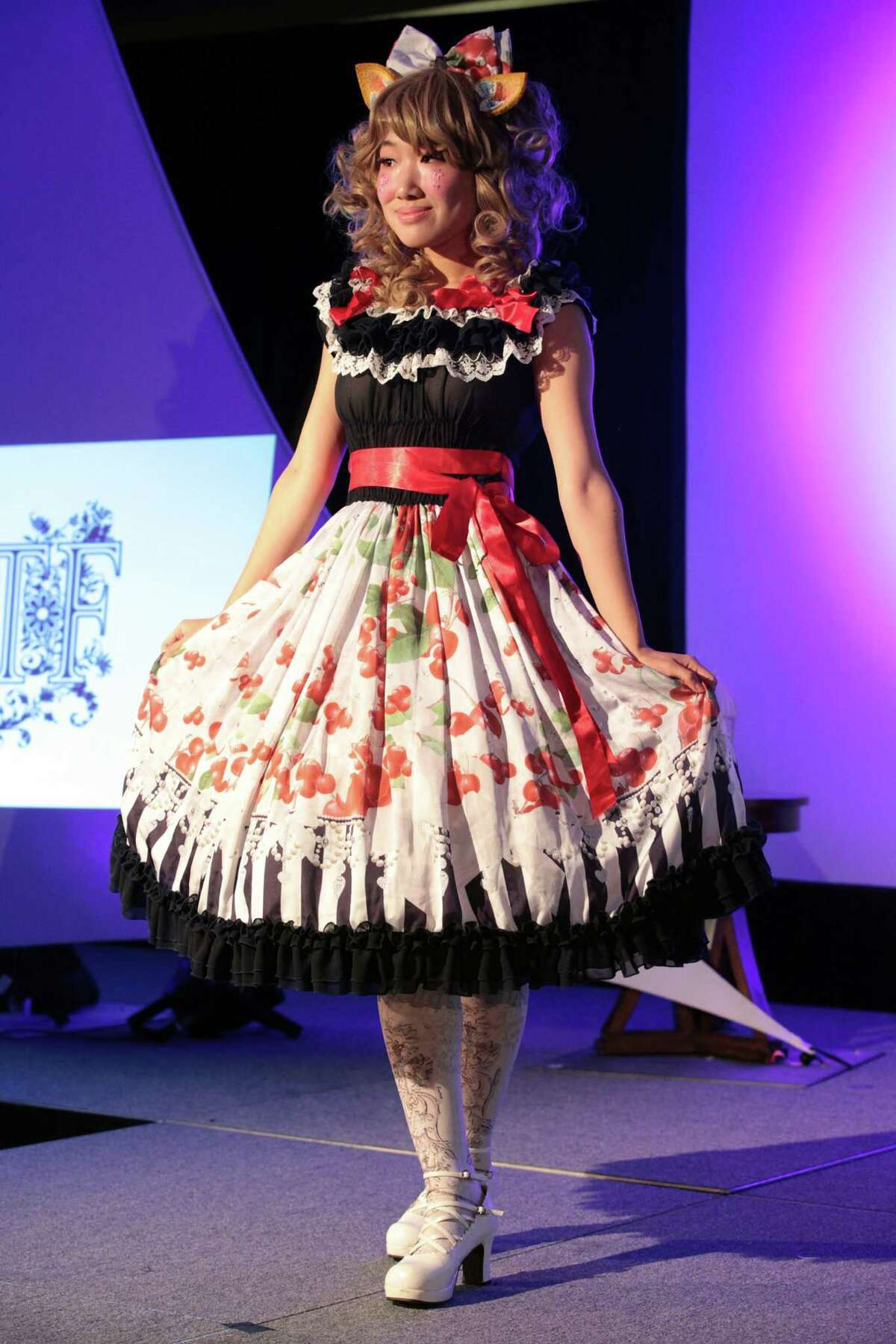A model wears a Triple Fortune ensemble, a Japanese brand, during a fashion show at RuffleCon at the Sheraton in Stamford, Conn. on Saturday, October 3, 2015.