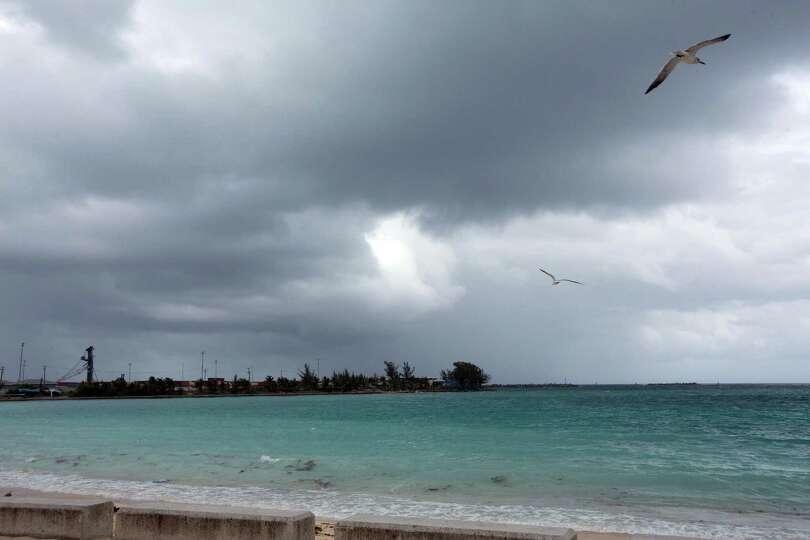 Skies begin to darken as Hurricane Joaquin passes through the region, seen from Nassau, Bahamas, ear