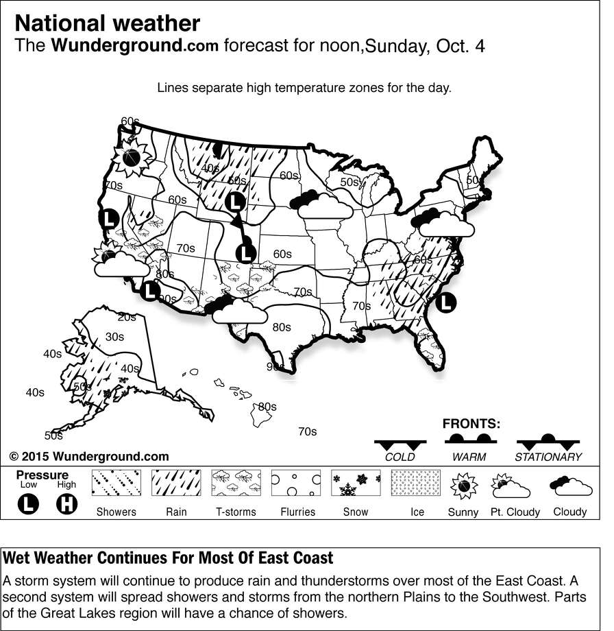 The forecast for Sunday, Oct. 4, 2015 shows a storm system will continue to produce rain and thunderstorms over most of the East Coast. A second system will spread showers and storms from the northern Plains to the Southwest. Parts of the Great Lakes region will have a chance of showers.  (Weather Underground via AP) Photo: HONS / Weather Underground