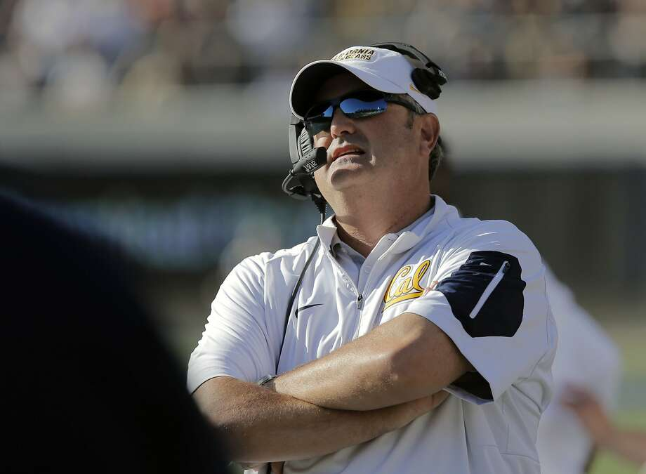 Cal head coach Sonny Dykes keeps watch late in the game, as the California Bears went on to beat the Washington State Cougars34-28 at Memorial Stadium in Berkeley, Calif., on Sat. October 3, 2015. Photo: Michael Macor, The Chronicle