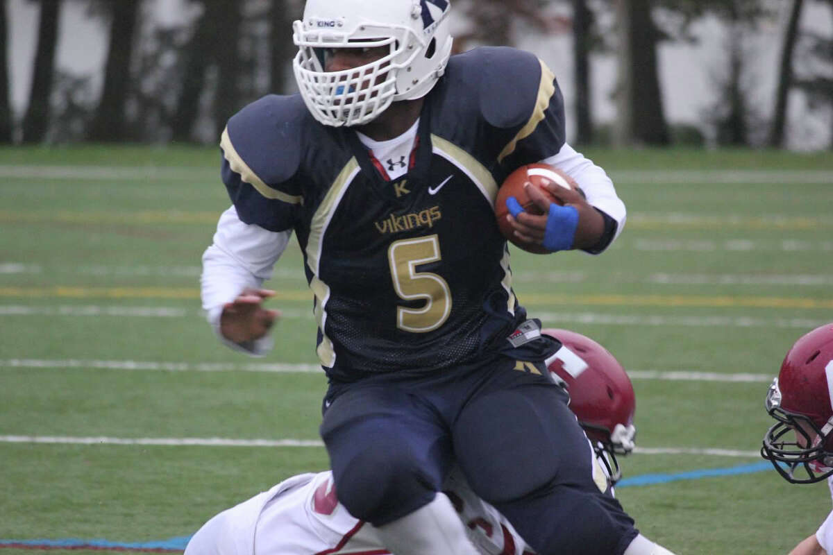 King School's Evan Townsend-Henry carries during Saturday's game against Gunnery in Stamford. Oct. 3, 2015.
