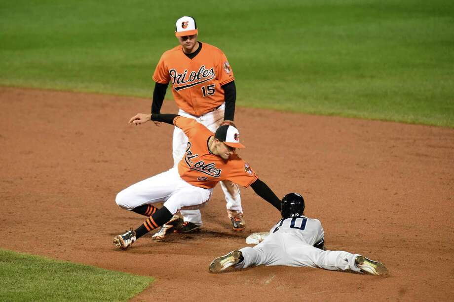 BALTIMORE, MD - OCTOBER 03:  Ryan Flaherty #3 of the Baltimore Orioles tags out Rico Noel #70 of the New York Yankees trying to steal second bas in the ninth inning during game two of a doubleheader at Oriole Park at Camden Yards on October 3, 2015 in Baltimore, Maryland.  (Photo by Mitchell Layton/Getty Images) ORG XMIT: 538596303 Photo: Mitchell Layton / 2015 Getty Images