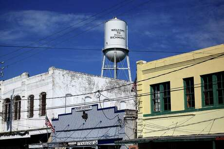 The water tower at Richmond, Texas on Friday morning before the parade. Photos of the annual Richmond parade to kick out its county fair  Friday, Sept. 25, 2015, in Richmond. The city has been working to rebrand itself after recently approving a master plan.
