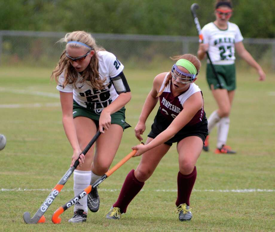 Pomperaug high school plays field hockey against New Milford high school at New Milford on Thursday, October 1, 2015. Photo: Lisa Weir / For The Newstimes / The News-Times Freelance