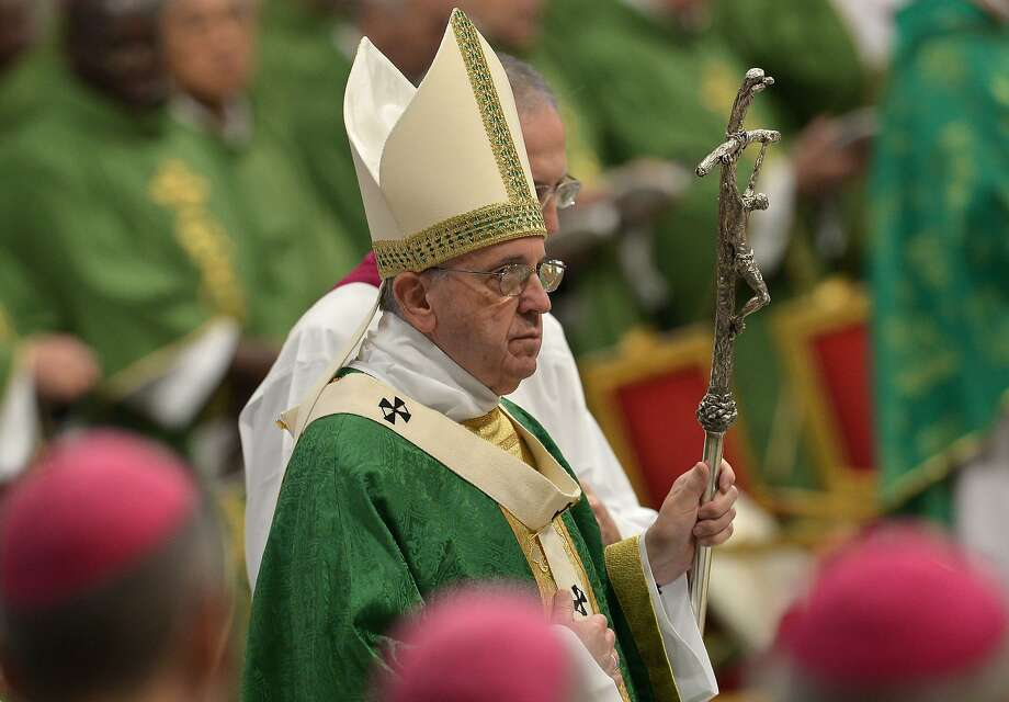 Pope Francis celebrates Mass for the opening of the synod on the family at St Peter's Basilica. Photo: Tiziana Fabi, AFP / Getty Images