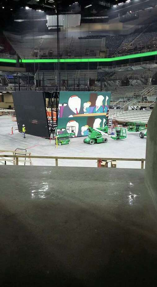 Additional leaked photos show installation of the new scoreboard at the AT&T Center. Photo: Courtesy