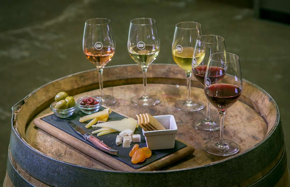 Wine and a cheese plate at Bluxome Street Winery in San Francisco, Calif. are seen on Saturday, October 3rd, 2015.